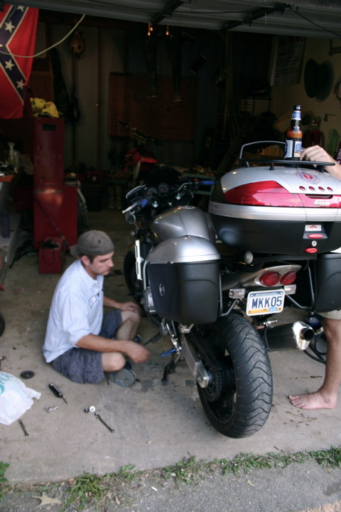 Wrenching on the FZ1 :-)